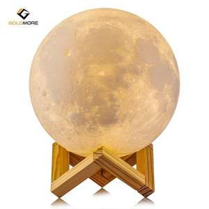 Goldmore 3D Printing Moon Light, rechargeable Lunar Night light with Wooden Stand, Diameter 5.9inch