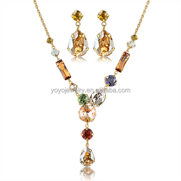 african gold plated jewelry sets wholesale tear drop pendant multi colored rhinestone beautiful jewelry set