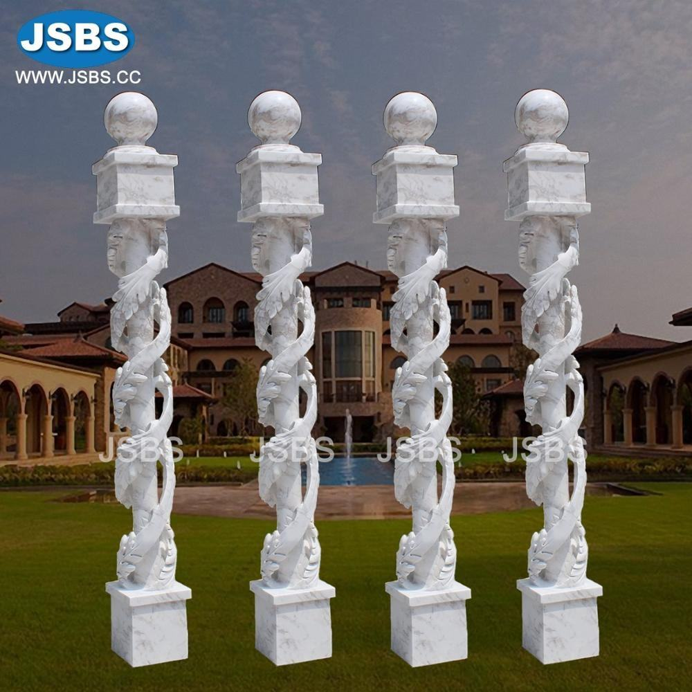 modern home decorative white marble pillars and columns corner post luxury leaves design