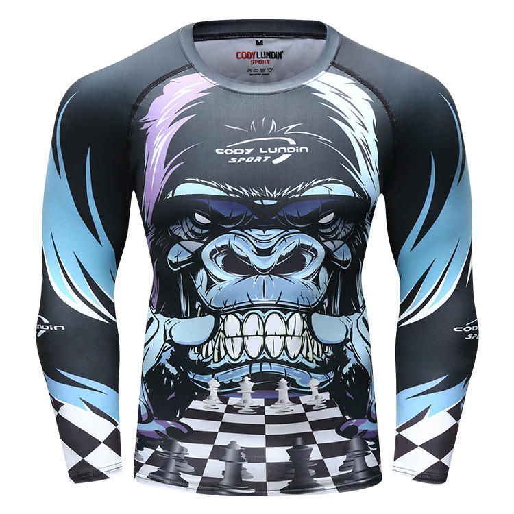 Guangzhou 3d sublimation digitaldruck t-shirt mma rash guard t hemd