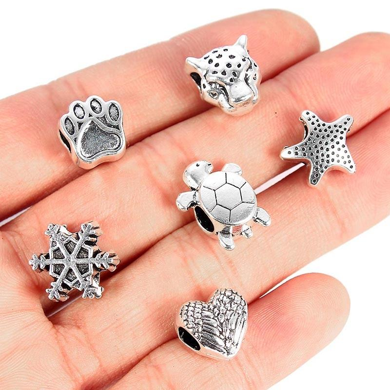30pcs Mixed Turtle Love Heart Starfish spacer Beads large Holes Zinc Alloy Spacer Beads DIY Bracelet For Child Accessories