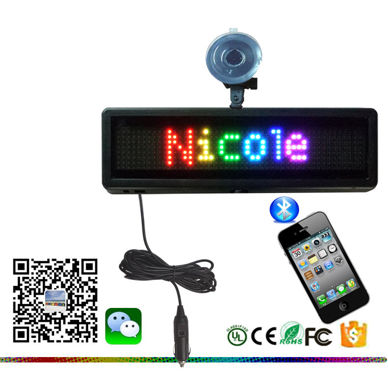 LED RGB MINI CAR SING DISPLAY RUNNING MESSAGE PROGRAMMABLE VIA BLUETOOTH FOR CAR WINDOW ADVERTISEMENT DISPLAY