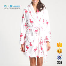OEM high quality towelling dressing gown with shawl collar All over custom logo printing beachwear bath robe with belt