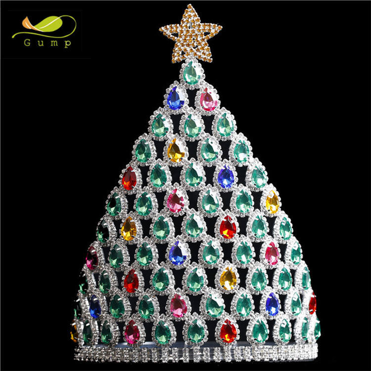 Custom Colorful Rhinestone Crystal Tiara Wholesale Star Shape Pageant Crown