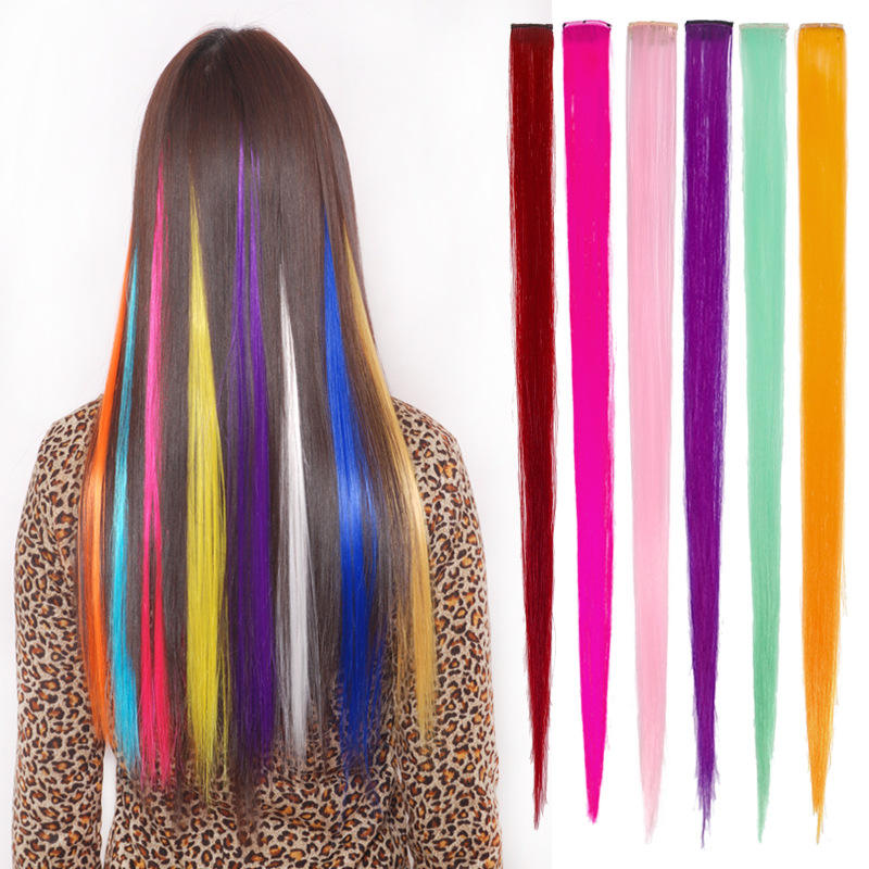 22 Inch Clip In One Piece Hair Extensions Straight Long Synthetic Hairpieces Women Girls Rainbow Hair Purple Blue Pink 24 Colors