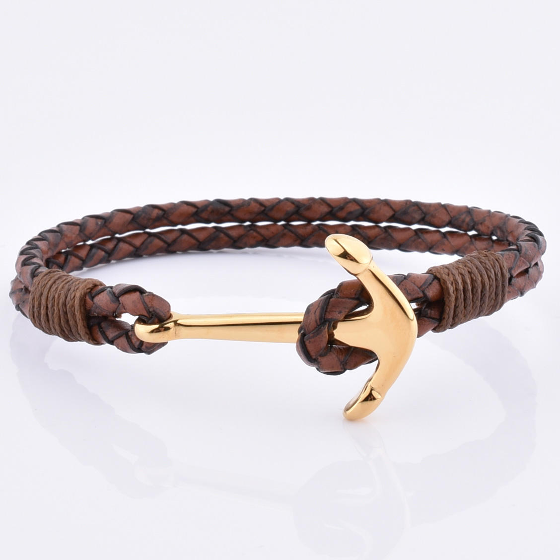 Fashion Jewelry 2019 Anchor Charm Leather Cord Custom Bracelet