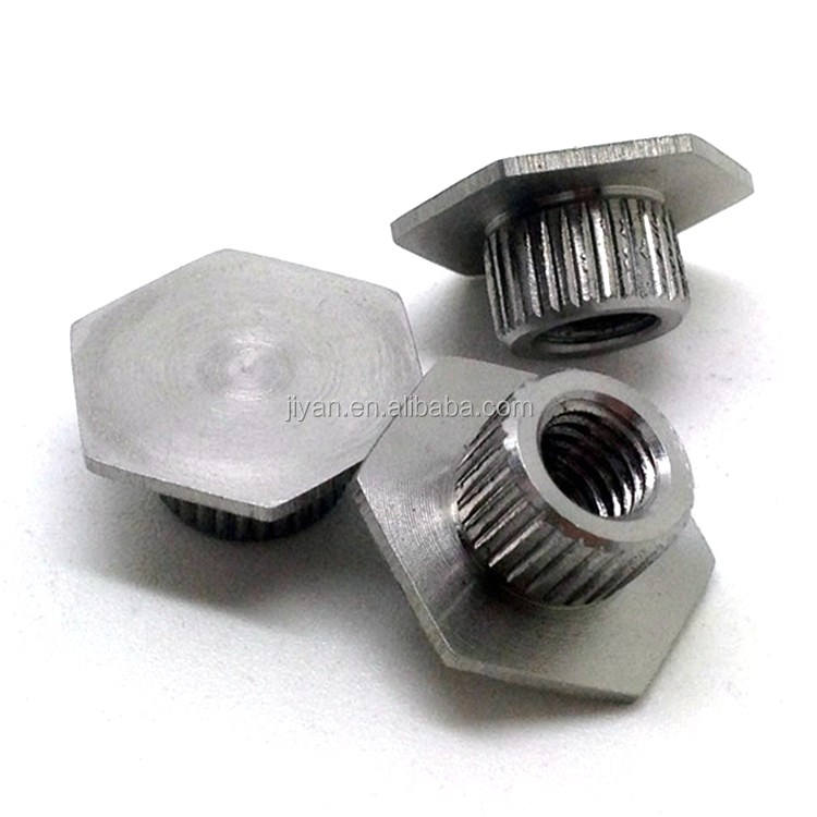 SS303/304 stainless steel hexagon base inserts nuts for wakeboard cold heading treatment
