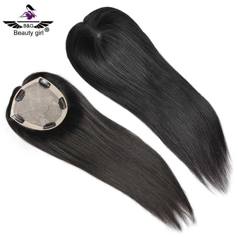 Beauty girl wholesale white silk base top with clip in topper piece, 100% remy indian hair toupee for hair lose women