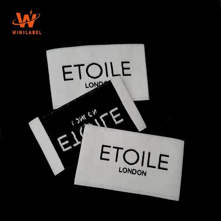 High Quality Garment Custom Branded Private Name Logo End Fold Cotton Clothing Woven Labels Hem Tags