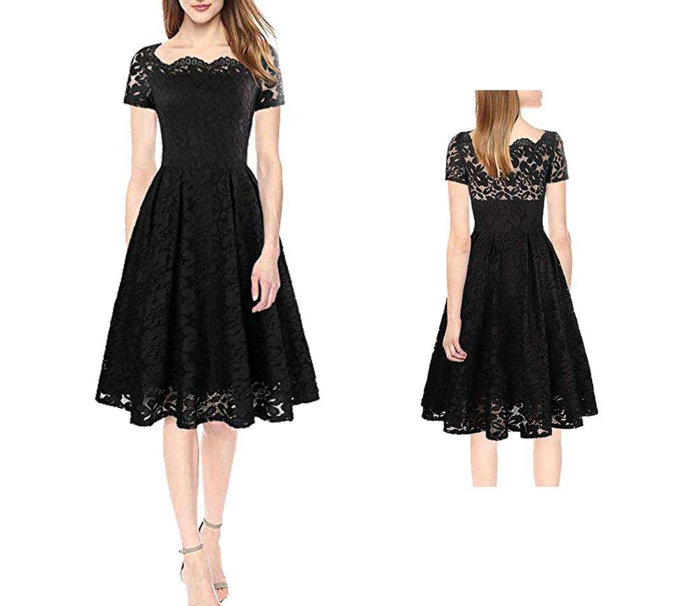 The High Quality Short Sleeve 1950s Vintage Floral Lace Dress