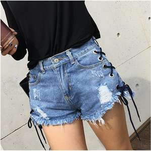B33054A Einzigartiges Design lace up Frauen Denim Shorts Sexy Mini Kurze Jeans