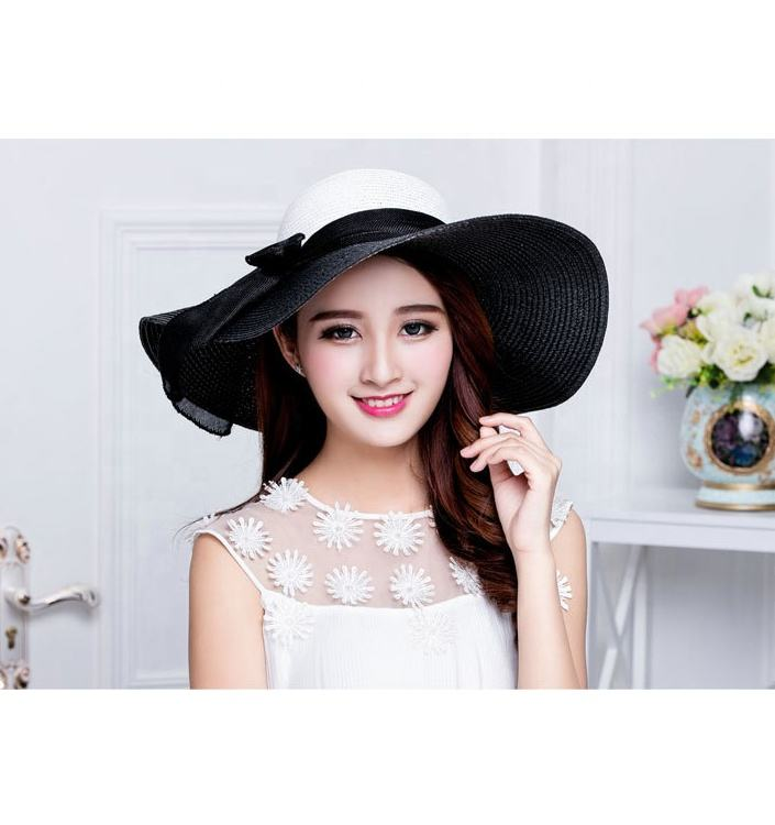 2019 Cheap New Fashion Wholesale Custom Summer Straw Hat Wide Brim Hats Women Summer Black
