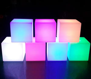 illuminated led cube bar chairs set furniture Plastic Material led cube seat chair