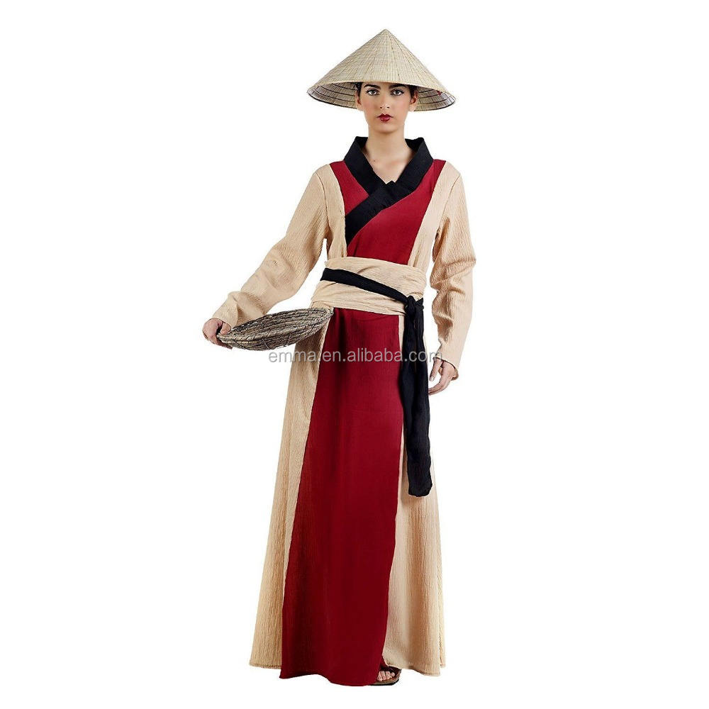 Adult Chinese Woman Costume for Carnival and Asia Theme Party Beige SA757