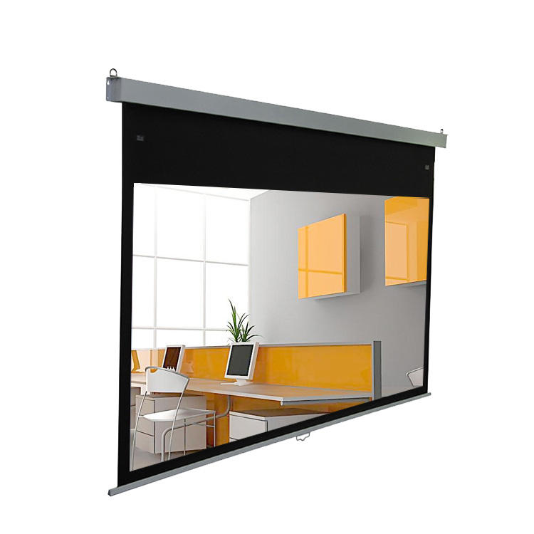High quality manual self-lock pull down projection screen