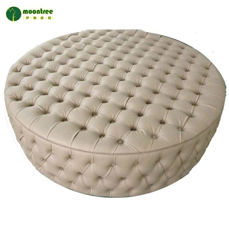 Moontree MEC-1183 High Quality Antique Design Luxury Leather Round Ottoman