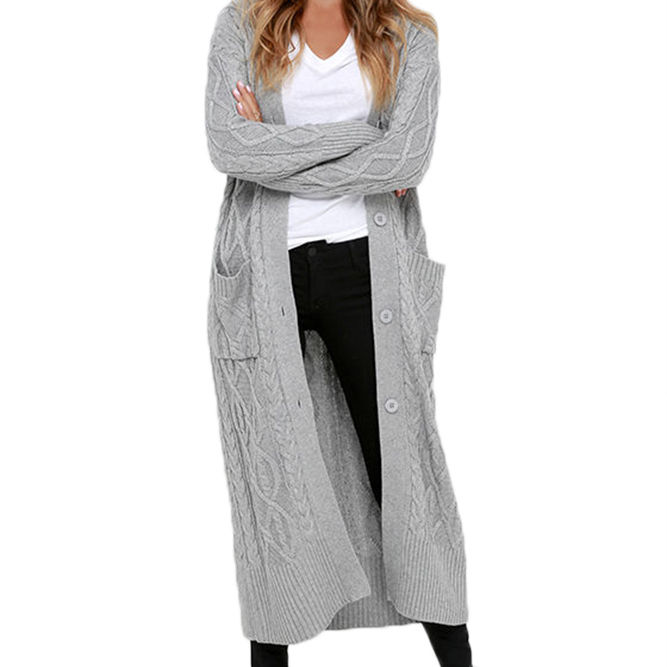 Femmes Hiver Automne Manches Longues En Tricot Maxi Pull Cardigan