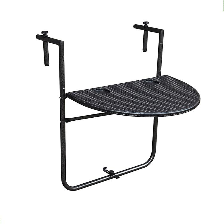 HDPE Plastic Adjustable Folding Balcony Deck Table Hanging Patio Rattan Design Railing Dining Table