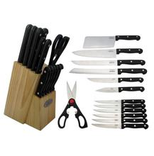 13pcs kitchen knife and scissors set with wooden holder