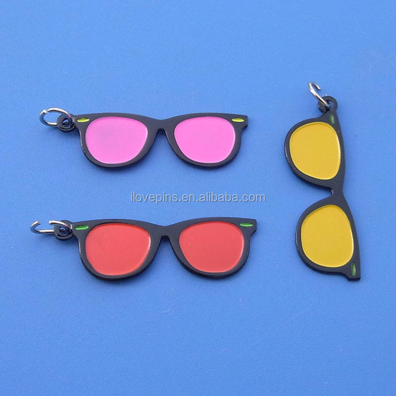 customized sun glasses shape metal keychain/keyring