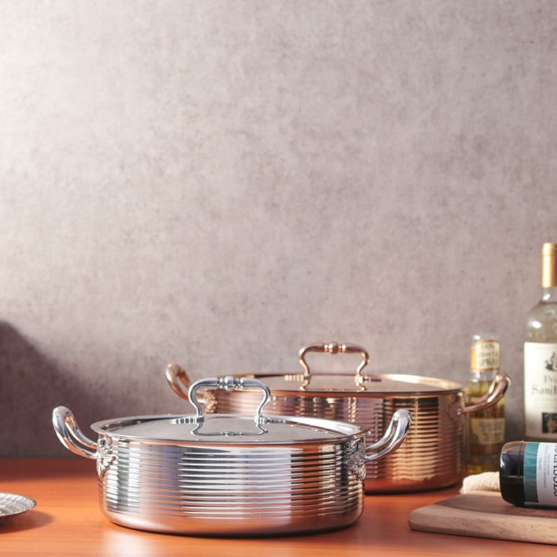 High quality Restaurant copper soup pot price forInduction Commercial stainless steel chinese hot pot cookware hammered pot