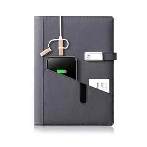 Multifunction business Power Bank Notebook Custom company logo diary pocket on cover A5 pu Leather loose leaf planner 8000mAh
