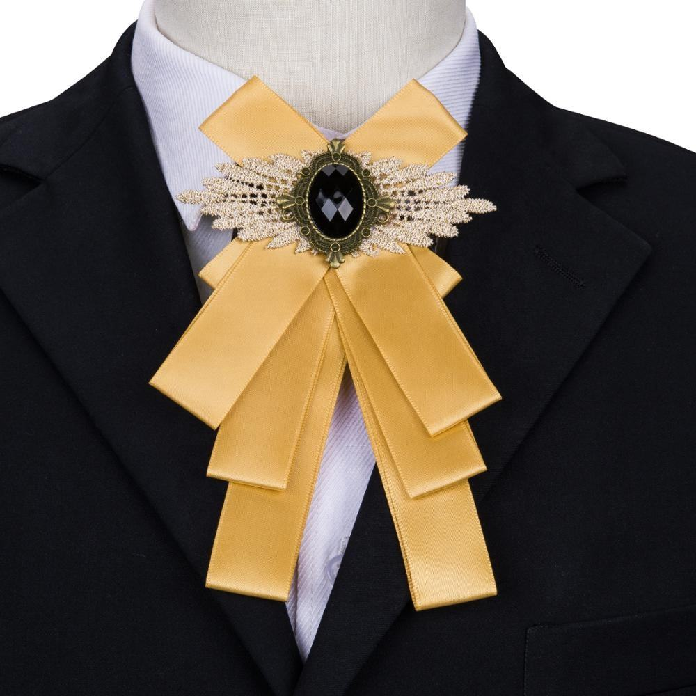 Free Shipping Fashion Crystal Mens Yellow Ribbon Brooch Women Bow Tie