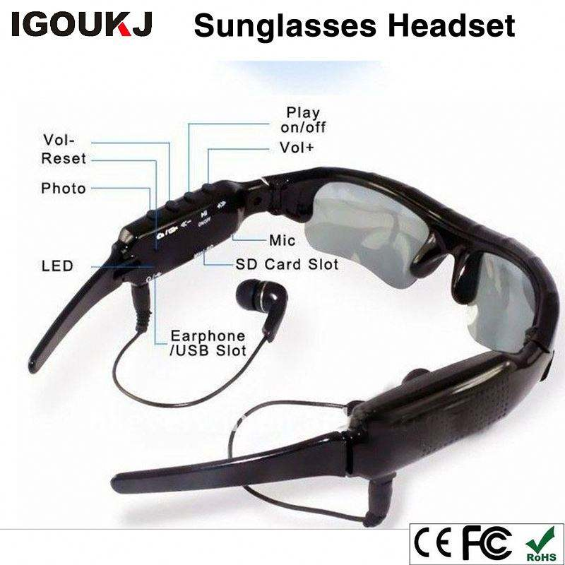 Factory Camera Multifunction Wireless headset Sunglasses DV earphone video for Driving mobile eyewear recorder TF Card MP3
