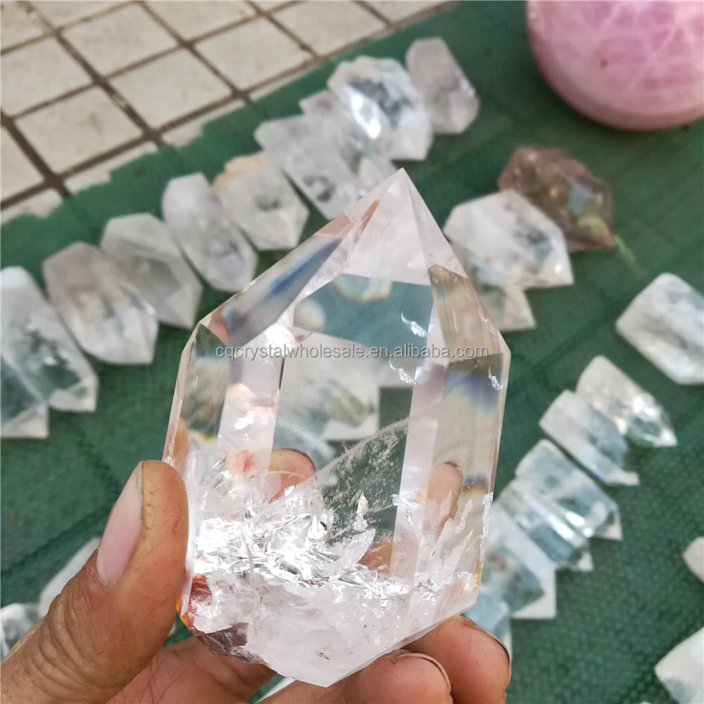 nature rock hand carved clear quartz crystal points for sale