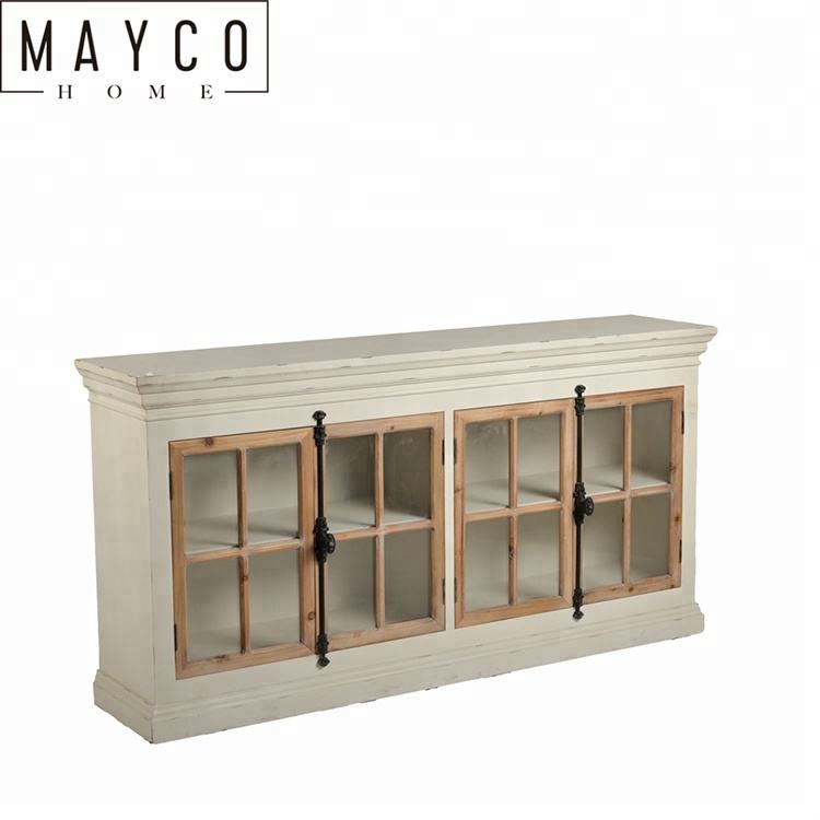 Mayco Dining Living Room Furniture Luxury Modern Industrial Rustic Long Glass Doors White Wooden Cabinet Sideboard