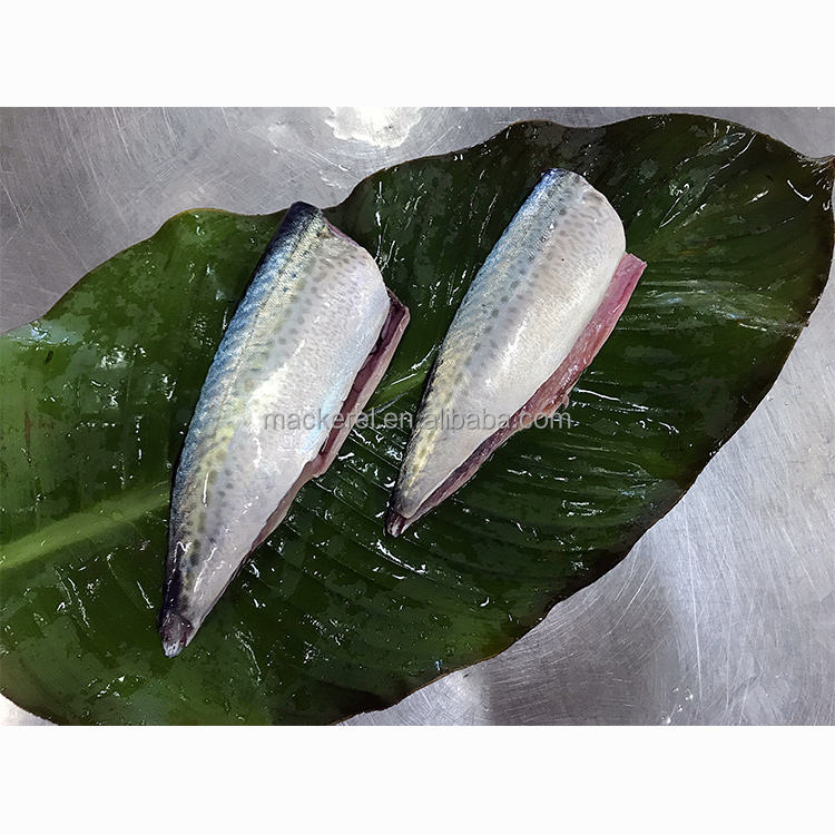 China export Chemical free Good quality IQF Frozen Seafood pacific finless Mackerel Butterfly Fillet