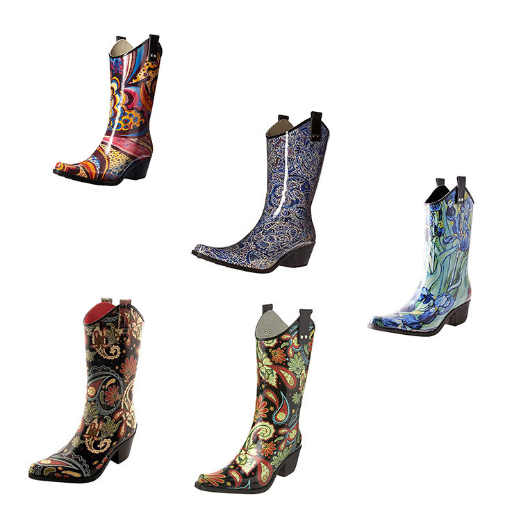 2019 New Design Fashionable Cheap Western American Wellington High Heel Cowboy Boots Wholesale Rubber Rain Boots Women