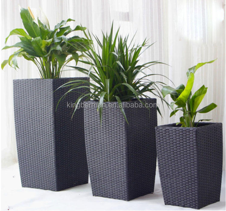 Garden Patio Furniture Rattan Planters and Pots PE Rattan Flower Pot