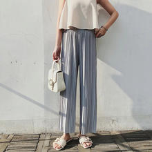 New summer pleated ice silk wide-legged pants wholesale loose casual trousers high waist chiffon wide leg pants women