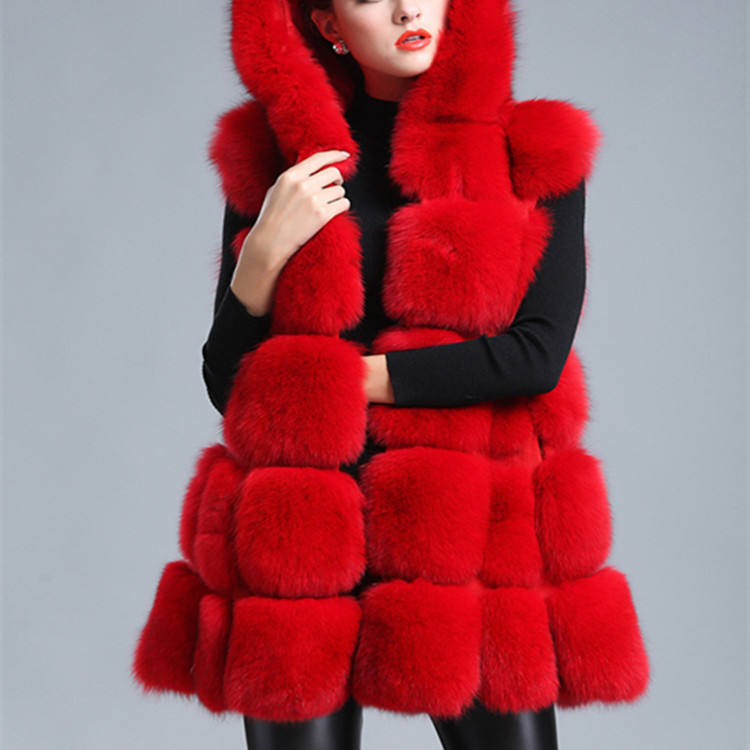 Hot Selling Faux Fur Coat For Woman Hooded Warm Coat Woman Winter Snow Overcoat Fox Fur Vest Sleeveless Vest