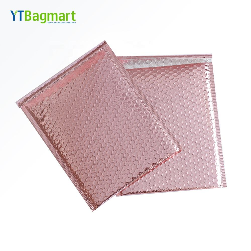 Poly Rose Gold Bubble Mailers Packaging Bags Customized Printed Mailing Air Bubble Pouch Bag