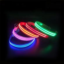 2019 New Pet Collar Making Supplies 100% Polyester Webbing Waterproof USB Rechargeable Flashing Led Collar For Dog