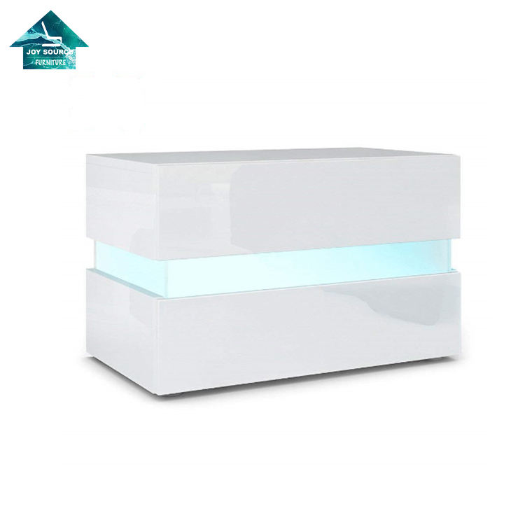 Bedroom wooden High Gloss LED Lights Night Stand Cabinet Design