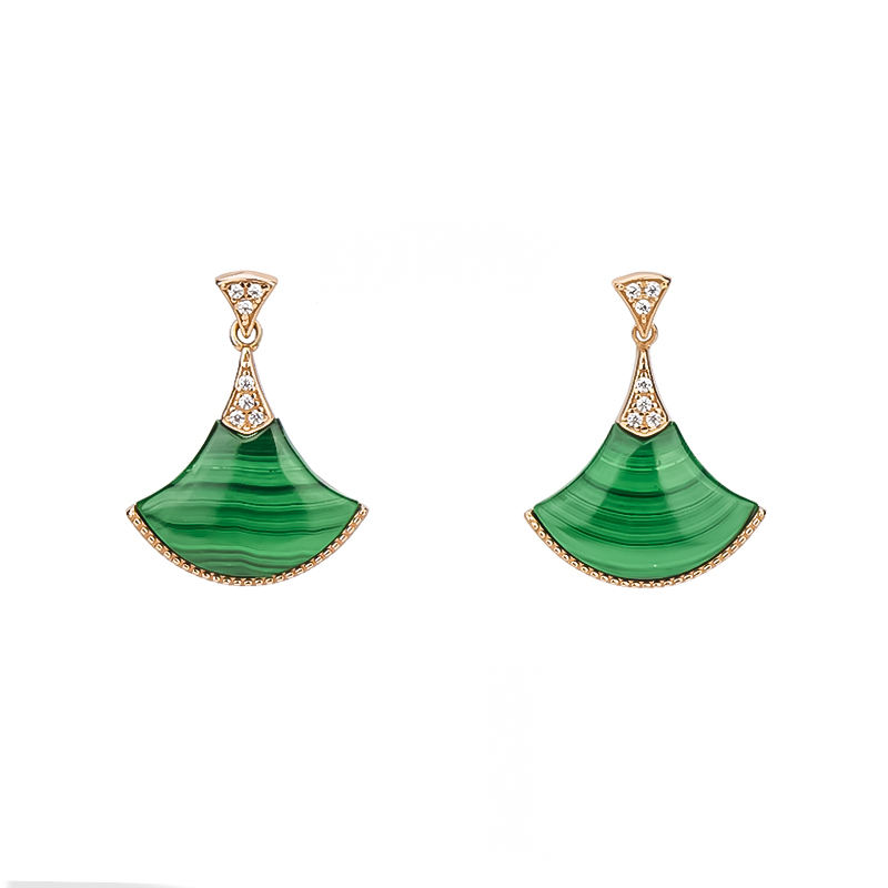 New Collection Fan Shape Natural Malachite 925 Sterling Silver Earrings with 18K Rose Gold Plating