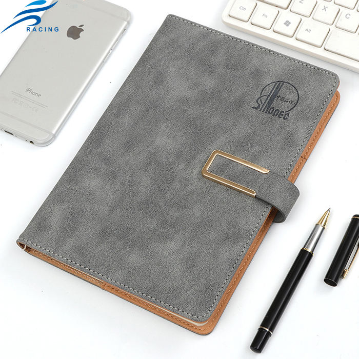 grey color emboss logo small pu personalised note book