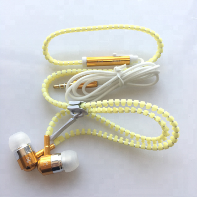 3.5mm Stereo Luminous Fluorescence In-Ear Zipper Earphones Headphones with Mic Headset for smartphone android phone