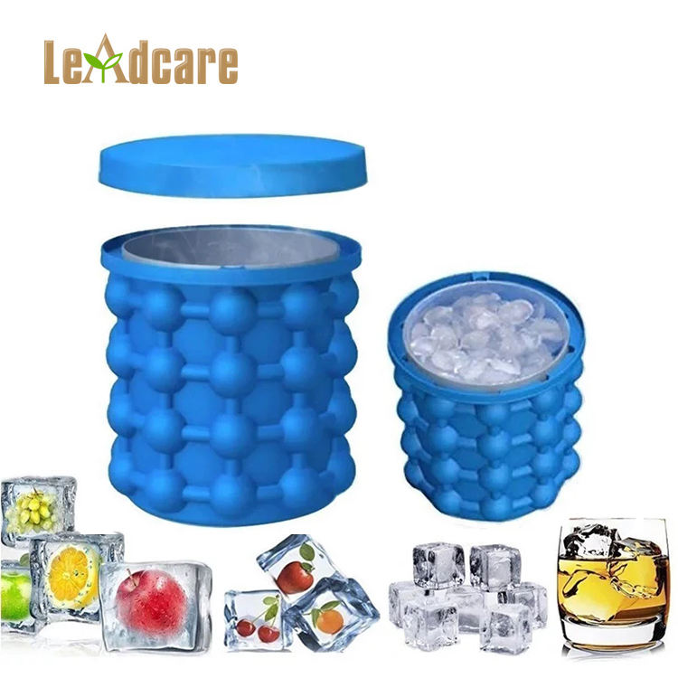 Space-saving round silicone mold magic ice cubes ice bucket, customized silicone wine ice bucket