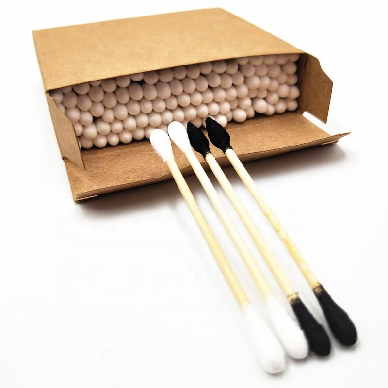 Biodegradable cotton bub/cotton swab by bamboo/paper handle with cotton and bamboo charcoal