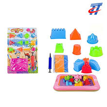 several sand mould toy with mini inflatable pool