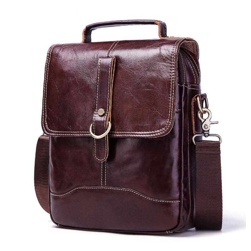 Men/'s Crazy Horse Leather Sling Shoulder Cross Body Messenger Courier Bag QU