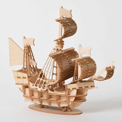 Custom Laser Cut Handmade DIY Assembly Wooden Ship Model Craft 3d wooden jigsaw puzzle toy