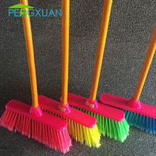 Low price household cleaning soft plastic broom with wood timber from Guangxi factory