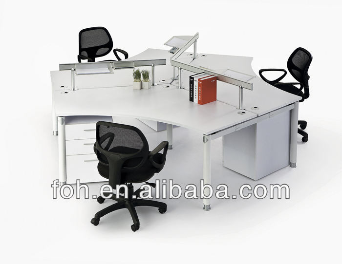 3-cluster 120 degree white office workstation desk with desk top glass partitions(FOH-KV-120D1911-3)