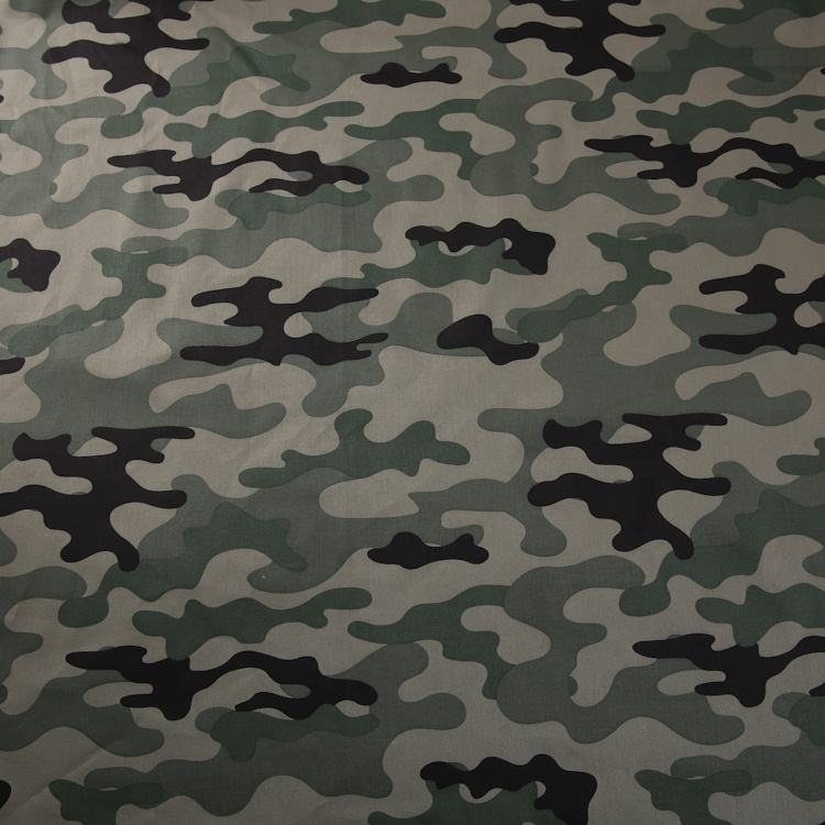 Custom 2/1 twill cotton spandex blend green military woodland print camouflage pattern fabric