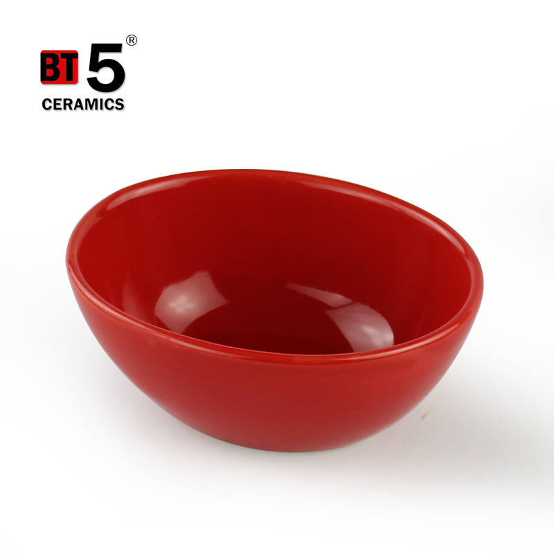 Creative smooth red ceramic salad bowl oval bowl with custom logo